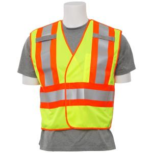 ERB S345 2X Hi Viz Lime Poly Oxford and Mesh 5-Point Break-Away Public Safety Vest by ERB