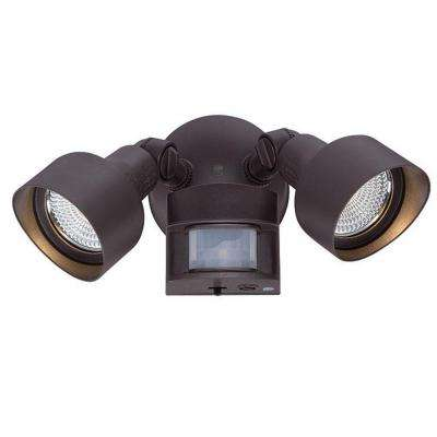 Flood Lights Collection 2-Light Architectural Bronze Motion Activated Outdoor LED Light Fixture