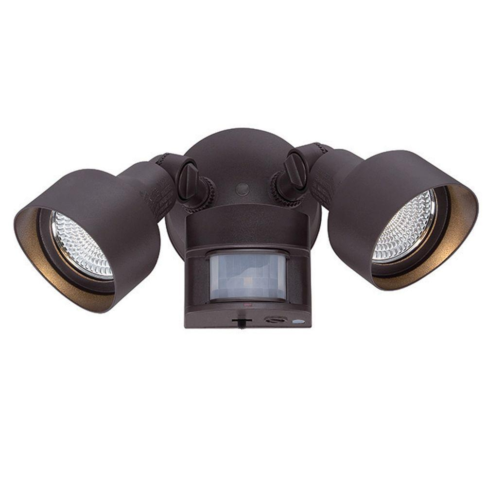 Acclaim lighting floodlights collection 2 light architectural bronze acclaim lighting floodlights collection 2 light architectural bronze motion activated outdoor led light fixture lfl2abzm the home depot arubaitofo Image collections