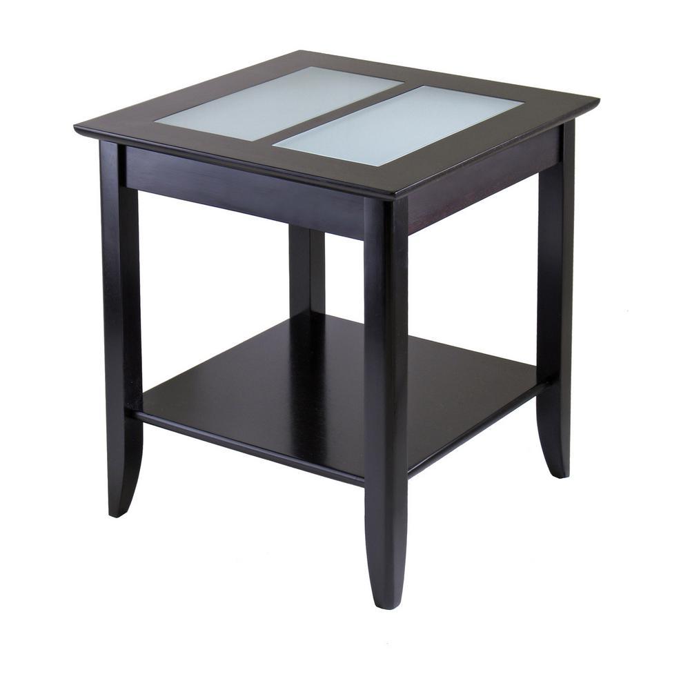 Syrah Espresso Glass Top End Table