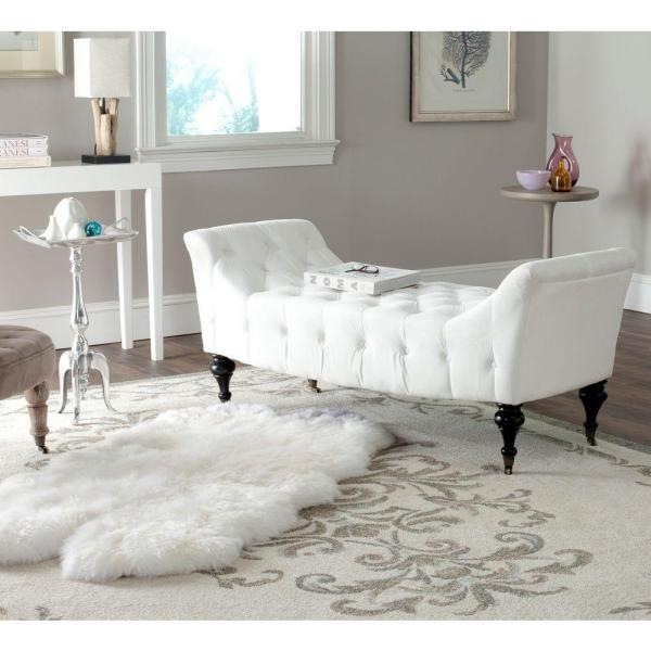 Safavieh Georgette White Bench MCR4672A - The Home Depot