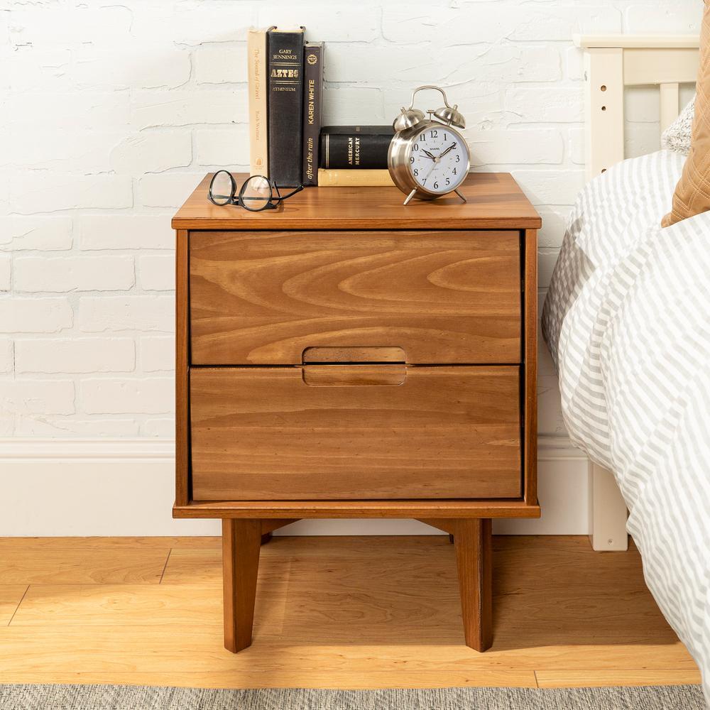 2-Drawer Caramel Mid Century Modern Wood Nightstand