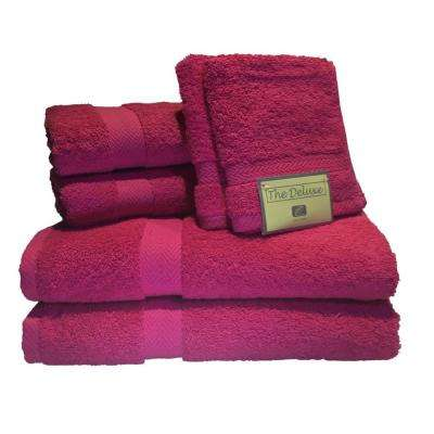 Deluxe 6-Piece Cotton Terry Bath Towel Set in Fuchsia