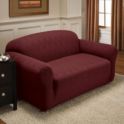 Burgundy Optic Loveseat Stretch Slipcover