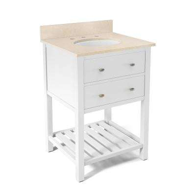 Harrison 25 in. W x 22 in. D Vanity in White with Marble Vanity Top in Beige with White Basin