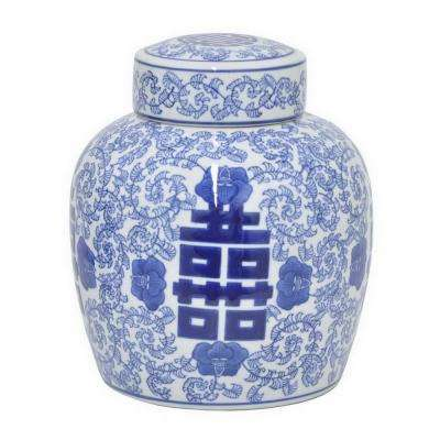9.25 in. Blue and White Ceramic Jar