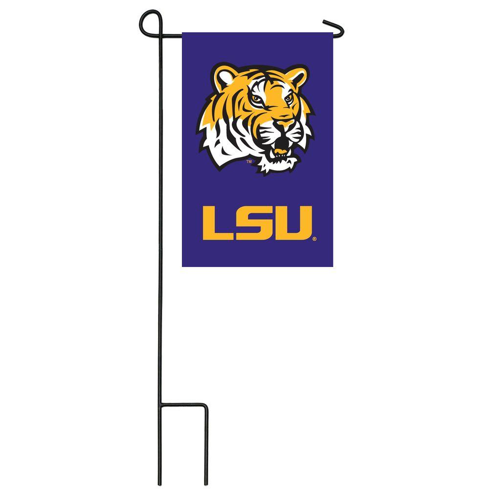 Team Sports America NCAA 12-1/2 in. x 18 in. LSU 2-Sided Garden Flag with 3 ft. Metal Flag Stand