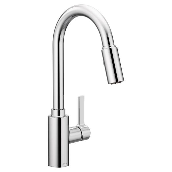 Moen Genta Single Handle Pull Down Sprayer Kitchen Faucet With Reflex In Chrome 7882 The Home Depot
