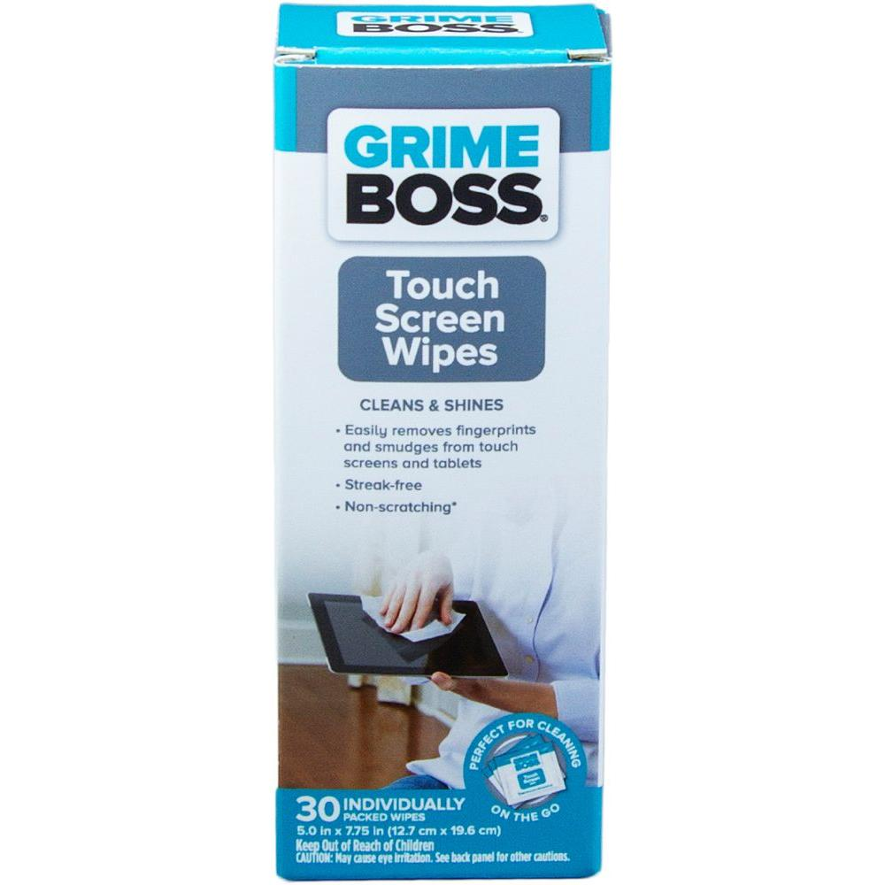 Grime Boss Touch Screen Wipes (30-Count) Keep your touch screens smudge-free with GRIME BOSS Touch Screen Wipes. Superior cleaning for everyone's essential devices, wipes remove dirt and fingerprints. Perfect for tablets, smartphones, GPS displays.