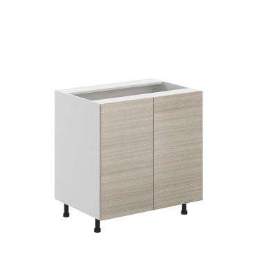 Ready to Assemble 33x34.5x24.5 in. Geneva Full Height Base Cabinet in White Melamine and Door in Silver Pine