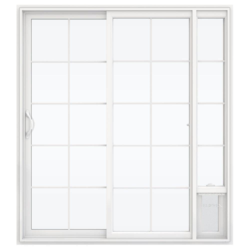 JELD-WEN 72 in. x 80 in. V2500 White Vinyl Prehung Left Hand 15 Lite Sliding Patio Door with Medium Pet Door