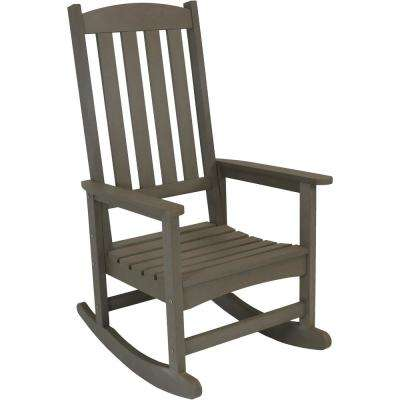 All-Weather Gray Traditional Plastic Patio Rocking Chair