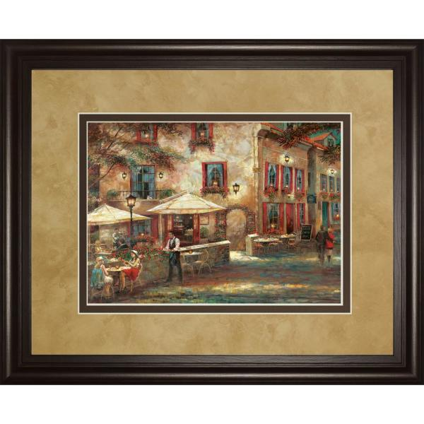 "Classy Art 34 in. x 40 in. ""Courtyard Cafe"" by Ruanne Manning Framed Printed Wall Art"
