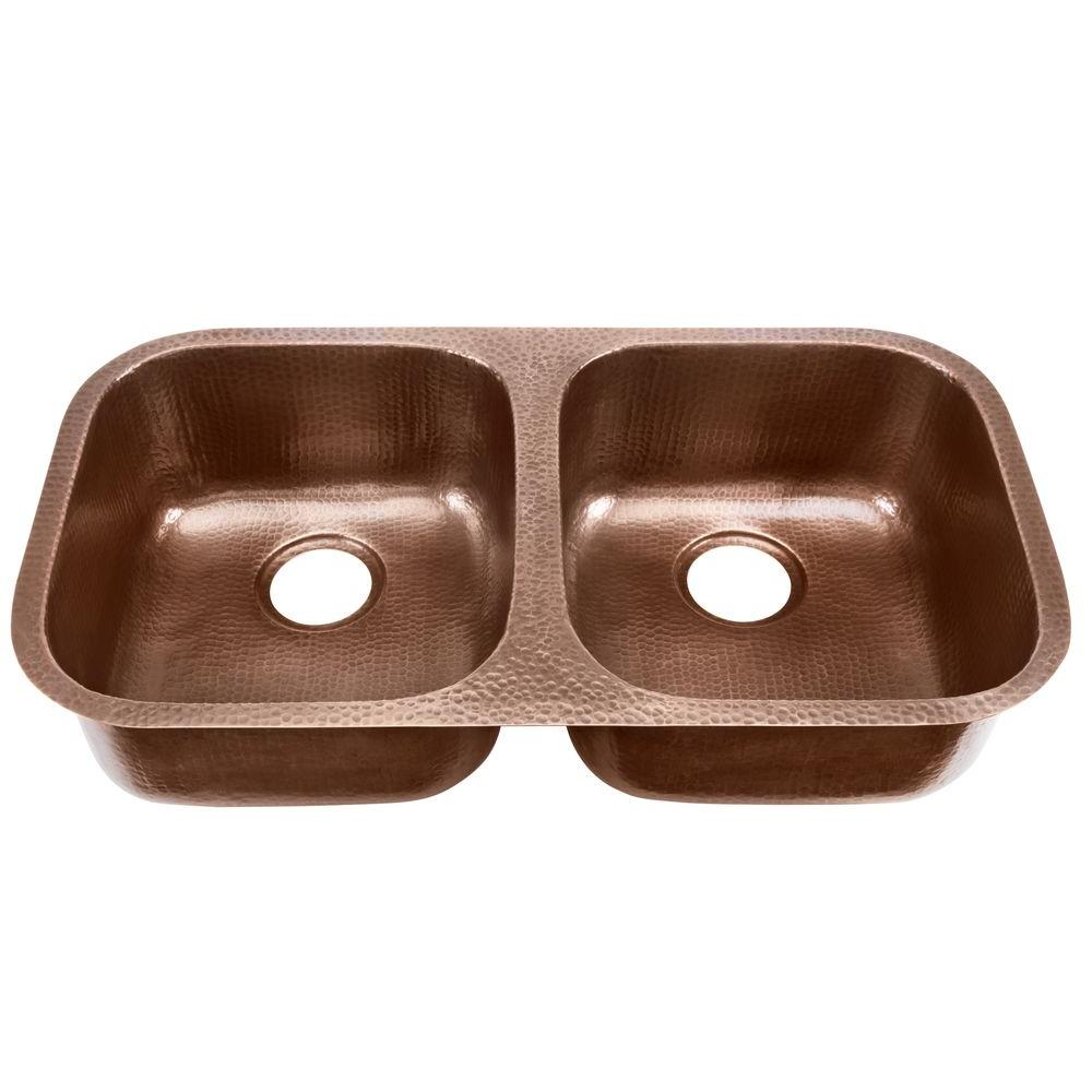 Glacier Bay Undermount Pure Solid Copper Sink 19 In. Double Bowl 50/50  Kitchen Sink In Hammered Antique Copper DAK 5050   The Home Depot