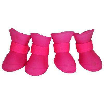Medium Pink Elastic Protective Multi-Usage All-Terrain Rubberized Dog Shoes