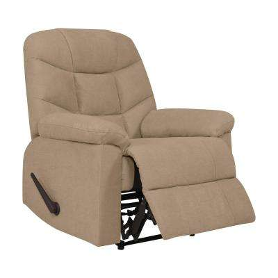 Barley Tan Plush Low-Pile Velvet Wall Hugger Recliner