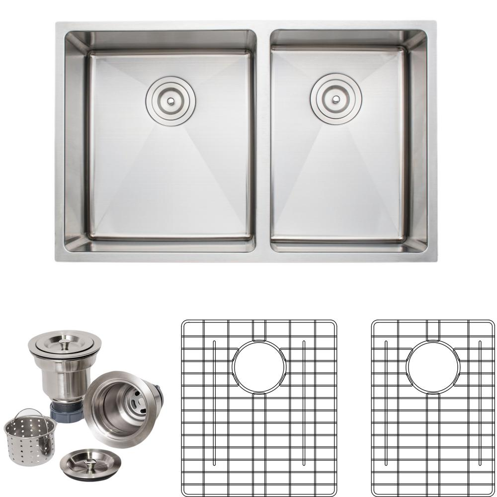 30 Inch Kitchen Sink | Wells The Chefs Series Undermount Stainless Steel 30 In Handmade 60 40 Double Bowl Kitchen Sink Package