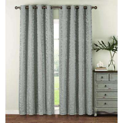 Semi-Opaque Alpine Textured Woven Leaf Jacquard 84 in. L Grommet Curtain Panel Pair, Seafoam (Set of 2)
