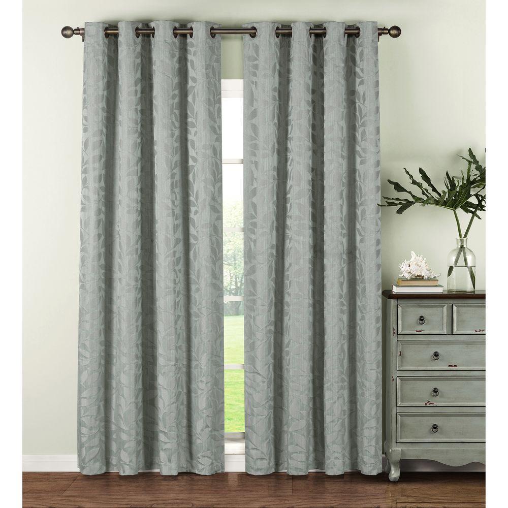 Semi-Opaque Alpine Textured Woven Leaf Jacquard 84 in. L Grommet Curtain Panel Pair, Seafoam (Set of 2)