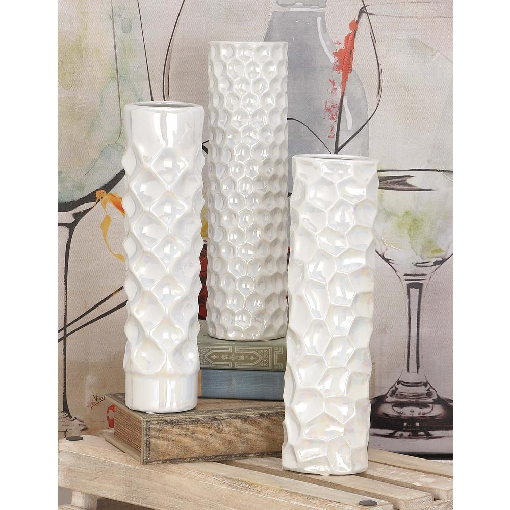 12 in modern tower white ceramic decorative vases set of 3 modern tower white ceramic decorative vases set of 3 reviewsmspy