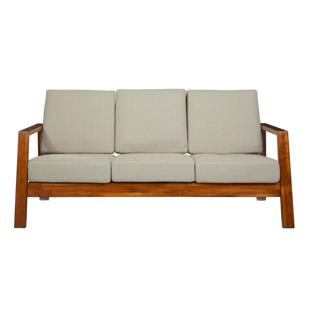 Handy living columbus mid century modern sofa with exposed wood frame in khaki linen
