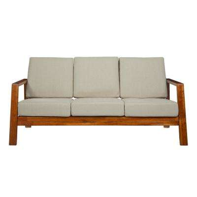 Columbus Mid Century Modern Sofa with Exposed Wood Frame in Khaki Linen