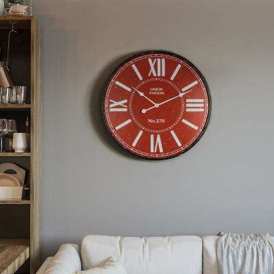 Crimson Station Red and Black Electric Wall Clock
