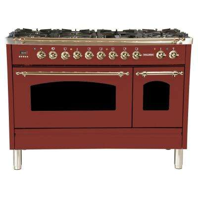 48 in. 5.0 cu. ft. Double Oven Dual Fuel Italian Range with True Convection, 7 Burners,Griddle, Bronze Trim in Burgundy