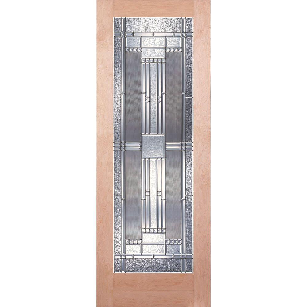 Feather River Doors 24 in. x 80 in. 1 Lite Unfinished Maple Preston Zinc Woodgrain Interior Door Slab