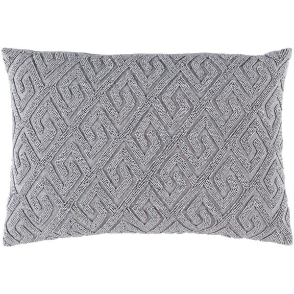 Chartham Grey Geometric Polyester 19 in. x 19 in. Throw Pillow