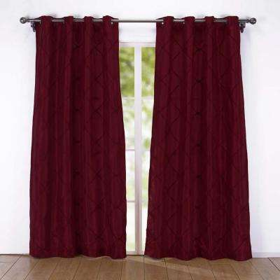 2-Pack Embroidered Rhombic Pattern Window Curtains 54 in. x 84 in. in Red