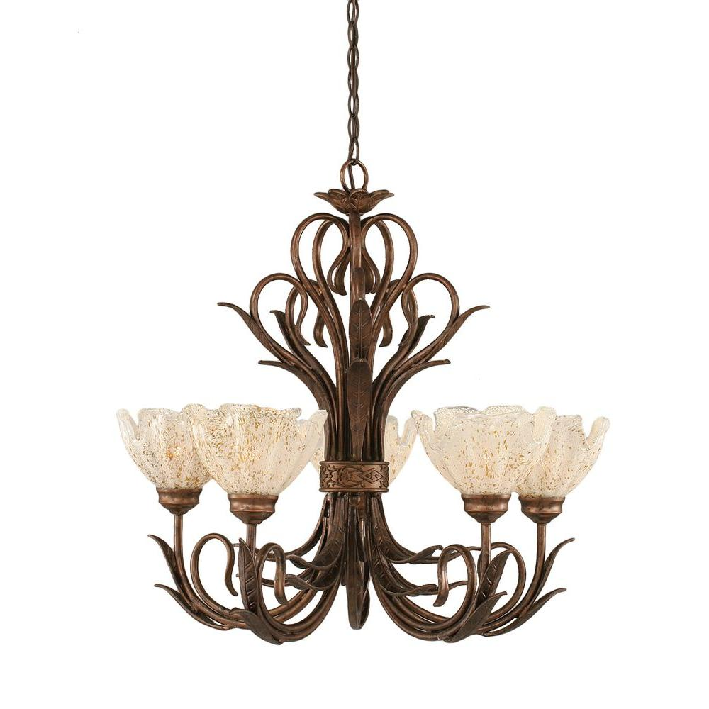 Filament Design Concord Series 5-Light Bronze Chandelier with Gold Ice Glass Shade