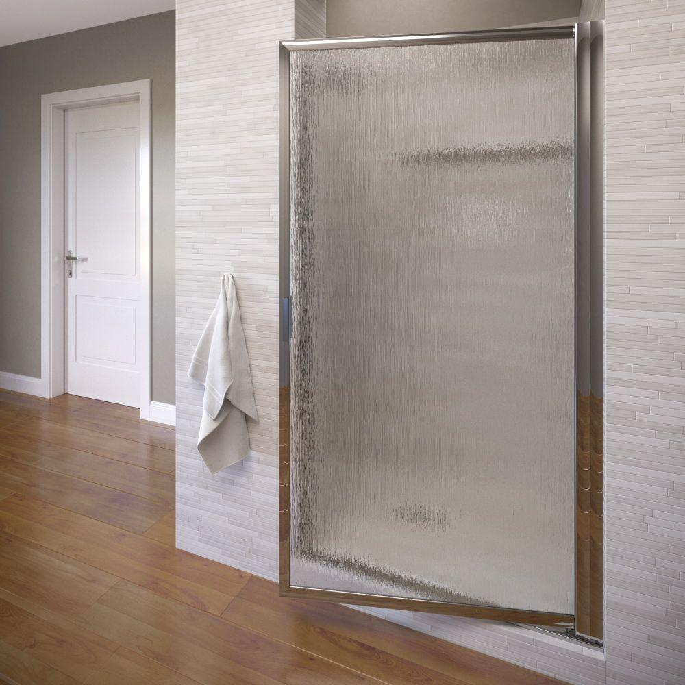 Basco Deluxe 36-7/8 in. x 63-1/2 in. Framed Pivot Shower Door in Silver