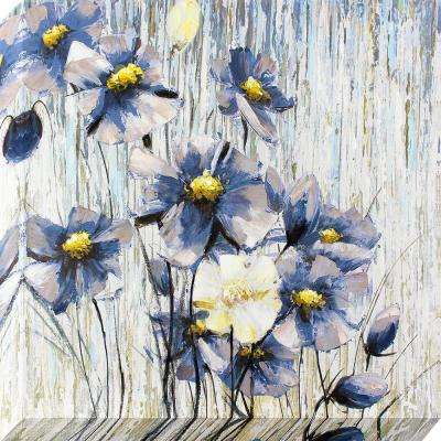 35 in. x 35 in. Periwinkle Flowers Oil Painted Canvas Wall Art