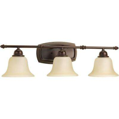 Spirit Collection 3-Light Antique Bronze Bathroom Vanity Light with Glass Shades