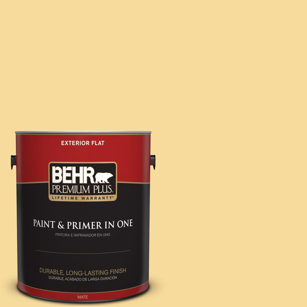 BEHR Premium Plus 1-gal. #360C-3 Honey Tone Flat Exterior Paint
