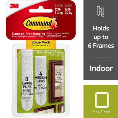 Medium and Large Picture Hanging Adhesive Strips (4-Medium Adhesive Strips) (8-Large Adhesive Strips)
