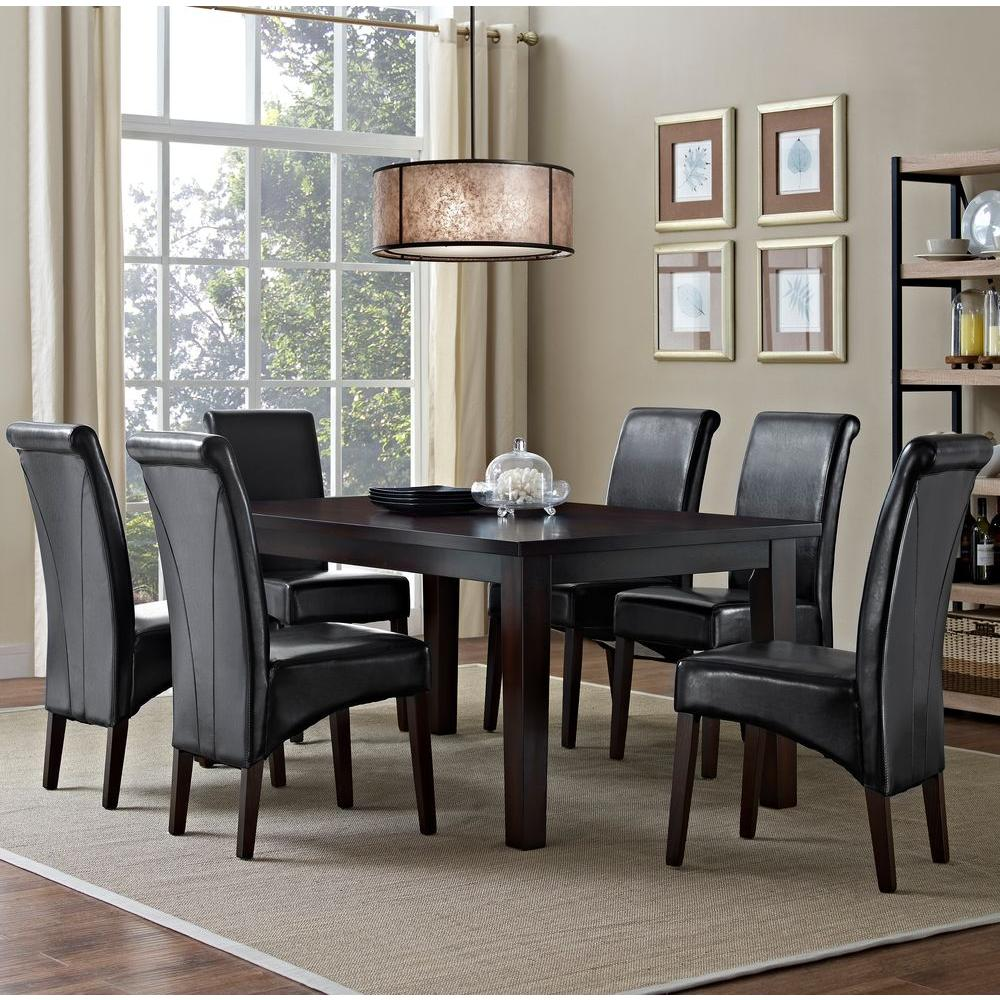 Simpli Home Avalon 7-Piece Midnight Black Dining Set