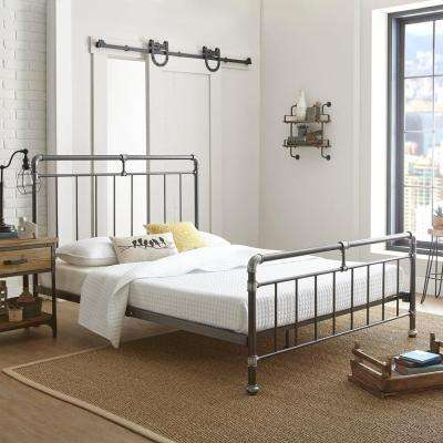 Antique Pewter Queen Platform Bed