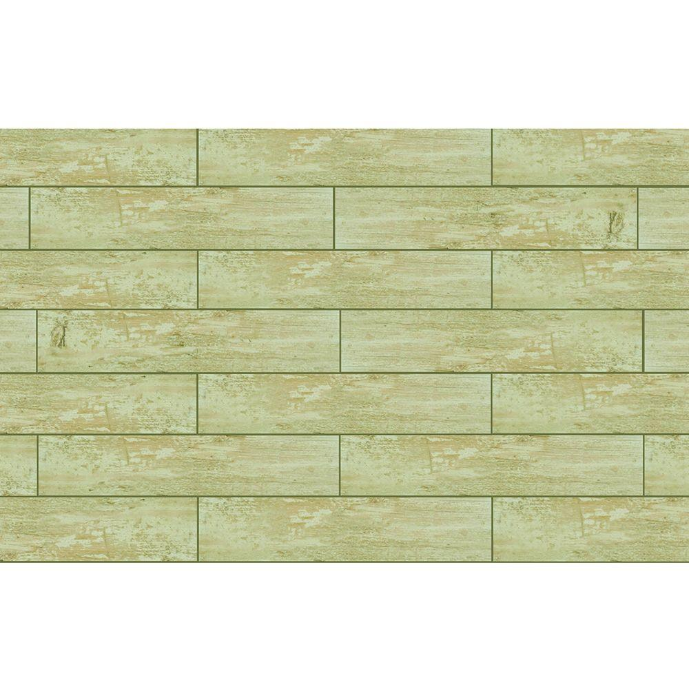 Textured Driftwood 6 in. x 30 in. Porcelain Floor and Wall Tile ...