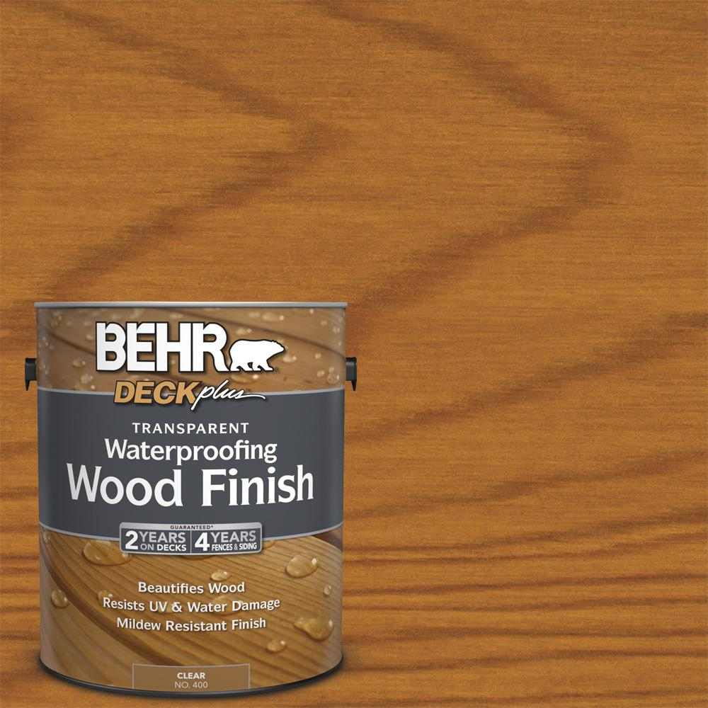BEHR DECKplus 1 gal. DECKplus Natural Clear Transparent Waterproofing Wood Finish