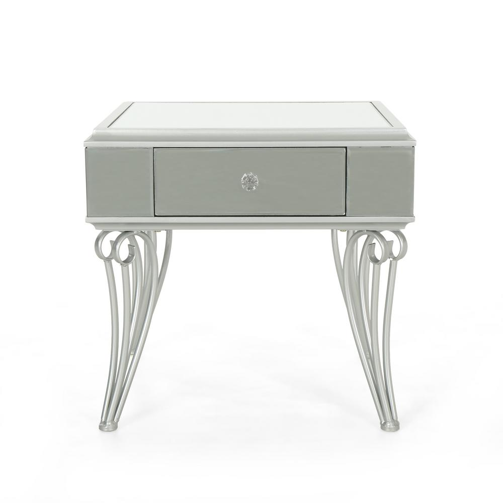 Noble house helenius modern mirrored accent table with silver iron frame 307441 the home depot