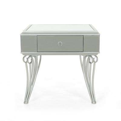 Helenius Modern Mirrored Accent Table with Silver Iron Frame