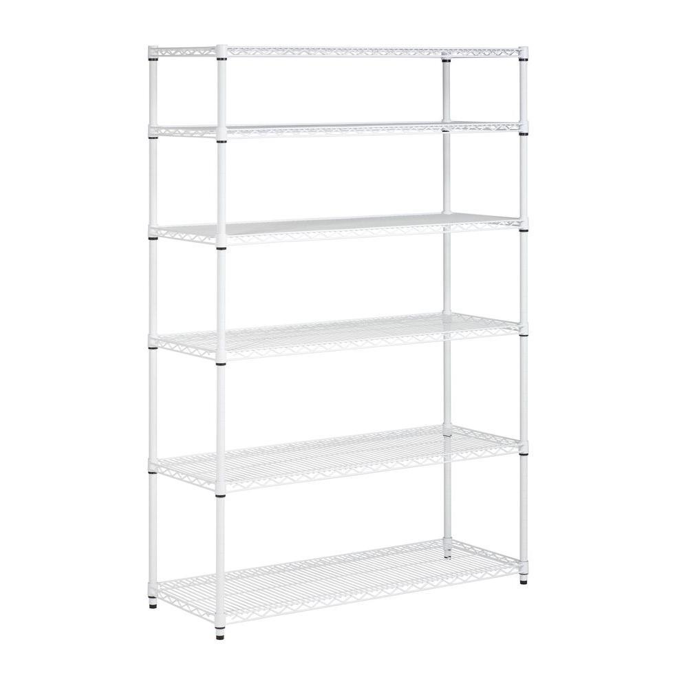 6-Shelf 72 in. H x 48 in. W x 18 in. D Steel Shelving Unit in White