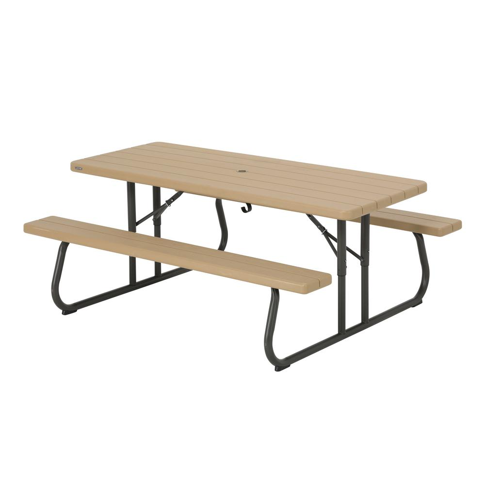 6 ft. Bronze Sand Resin Plastic Outdoor Folding Picnic Table