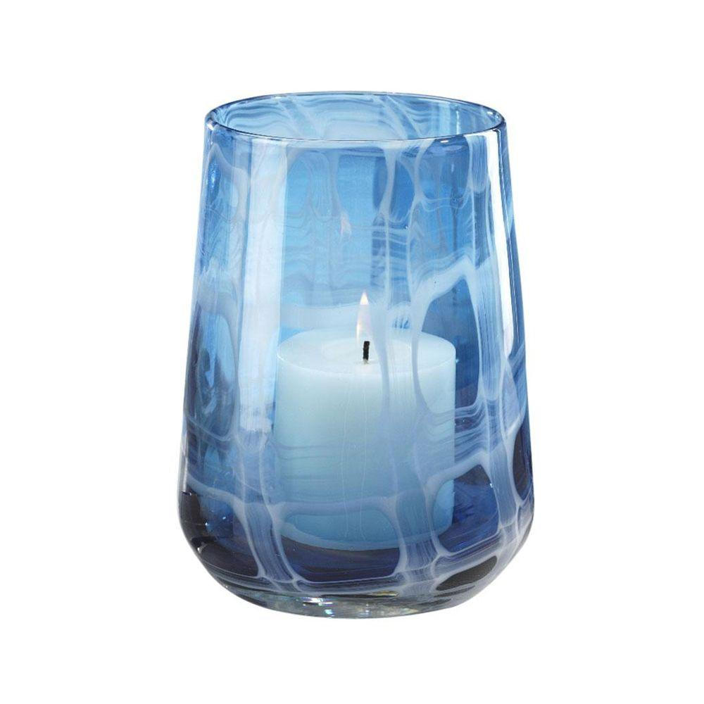 Home Decorators Collection Seaside Blue 7.75 in. H Hurricane Candleholder