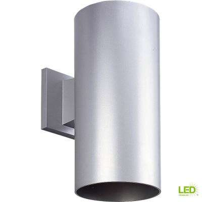 1-Light Metallic Gray Integrated LED 12 in. Outdoor Wall Mount Cylinder Light