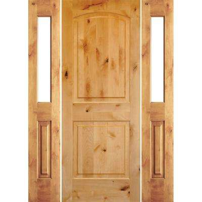 64 in. x 96 in. Rustic Knotty Alder Unfinished Right-Hand Inswing Prehung Front Door with Double Half Sidelite