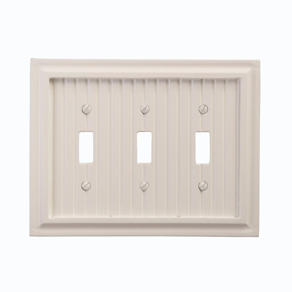 Amerelle Cottage Wood 3 Toggle Wall Plate - White