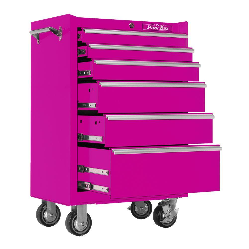 The Original Pink Box 26 in. 6-Drawer Roll Away Cabinet with Pink